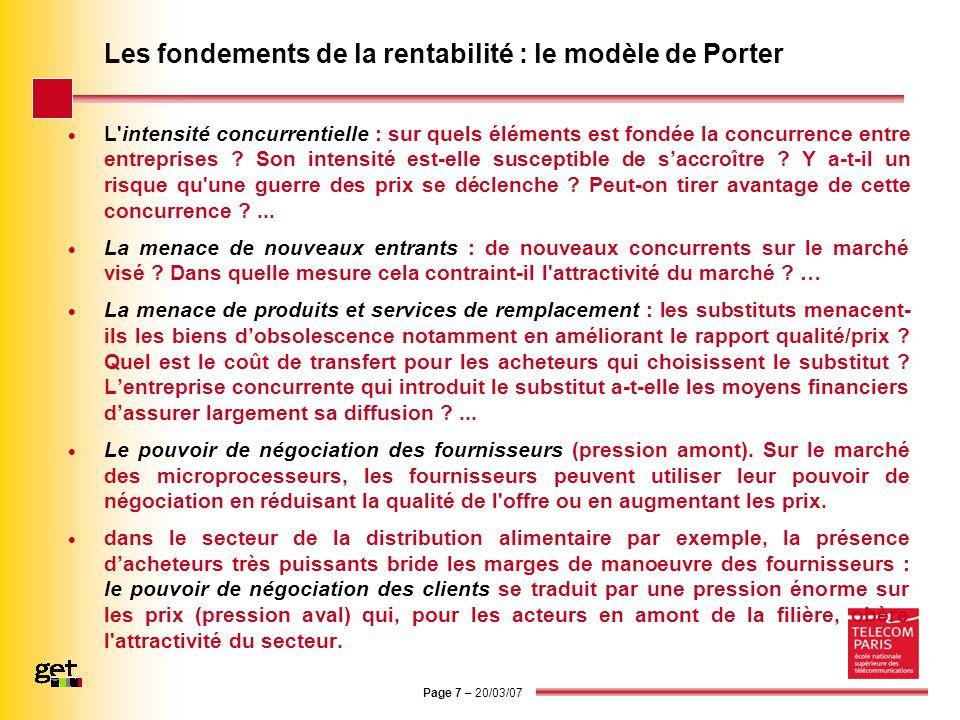 Les fondements de la rentabilité : le modèle de Porter