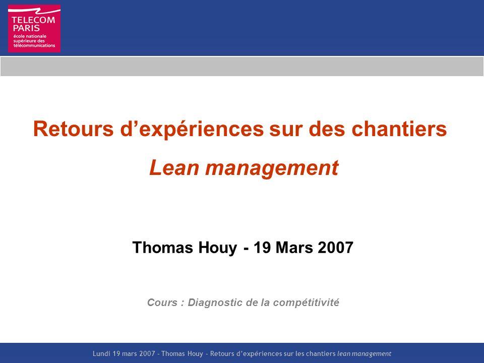 Retours d'expériences sur des chantiers Lean management
