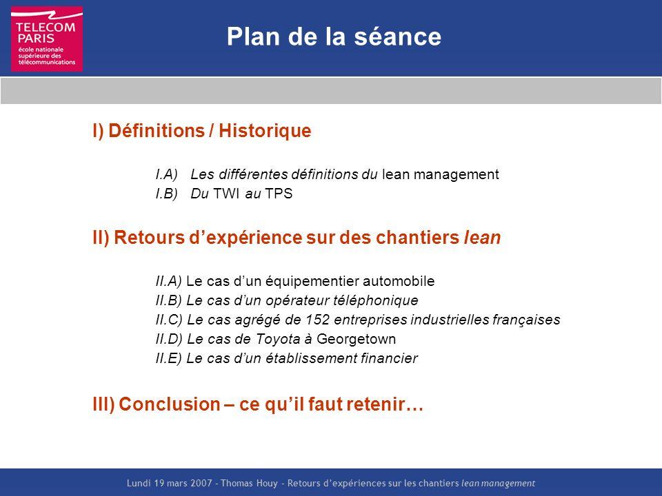Plan de la séance I) Définitions / Historique
