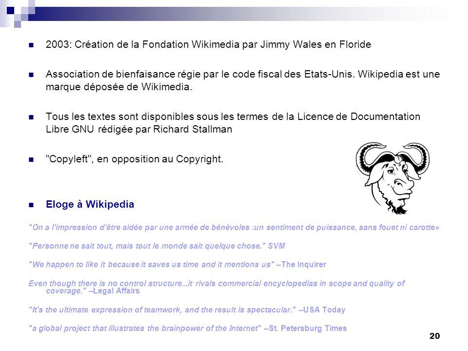 2003: Création de la Fondation Wikimedia par Jimmy Wales en Floride