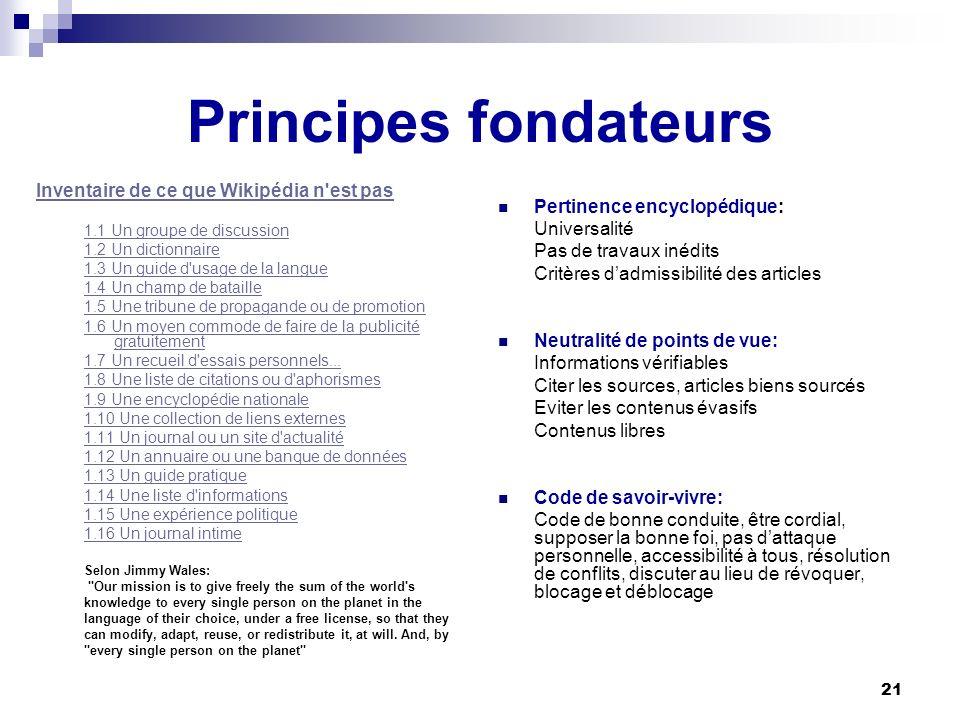 Principes fondateurs Inventaire de ce que Wikipédia n est pas