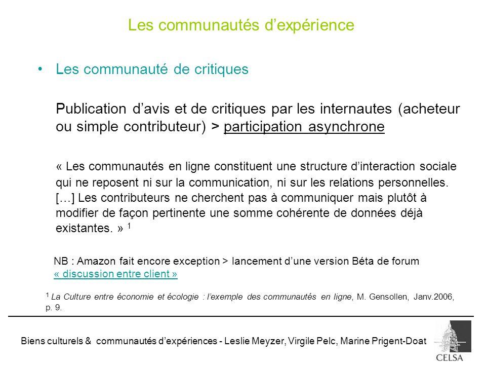Les communautés d'expérience