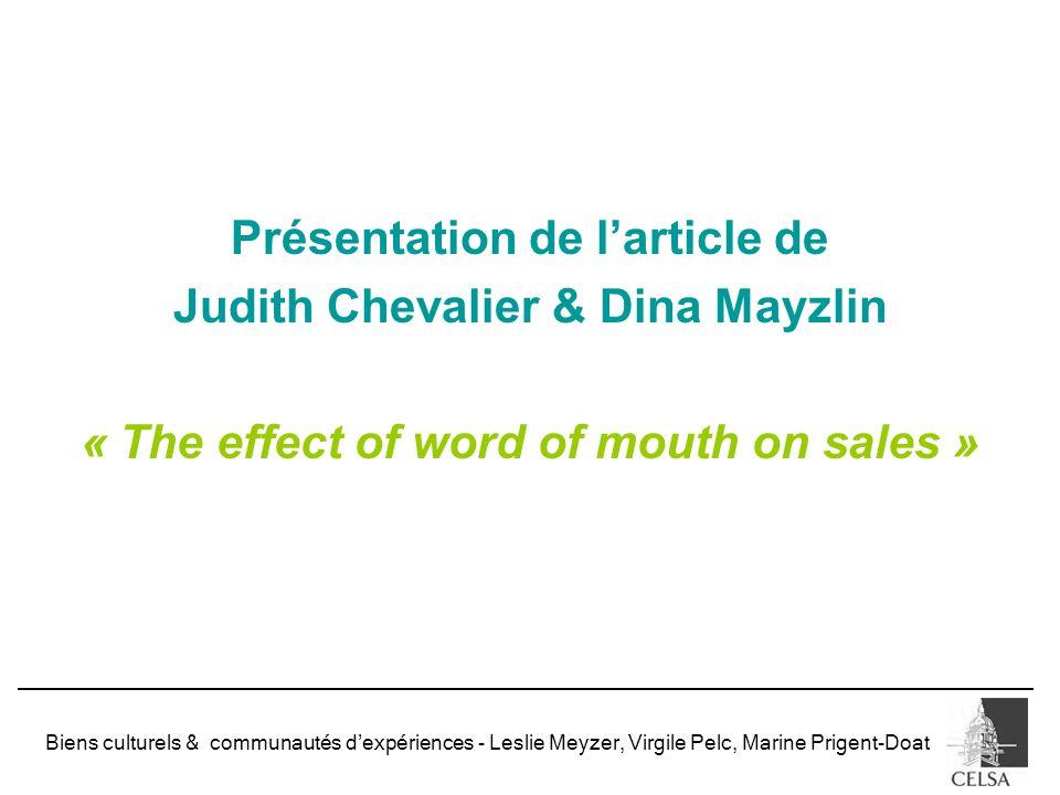 Présentation de l'article de « The effect of word of mouth on sales »