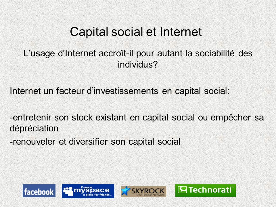 Capital social et Internet
