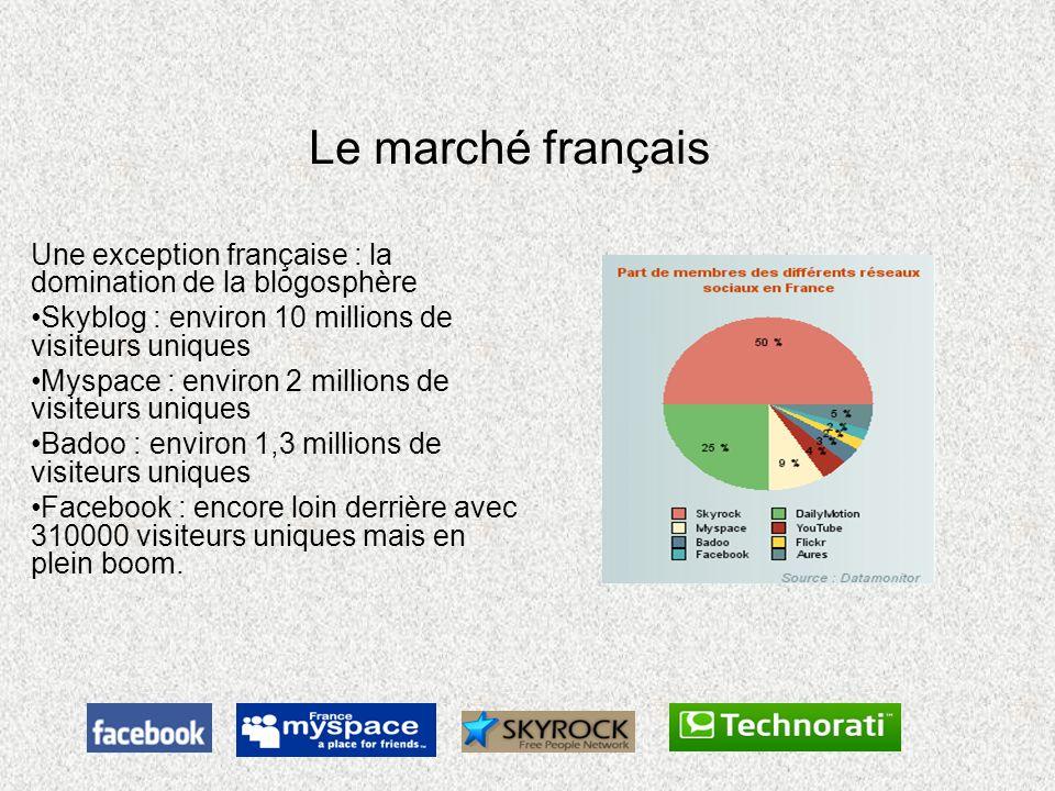 Le marché français Une exception française : la domination de la blogosphère. Skyblog : environ 10 millions de visiteurs uniques.