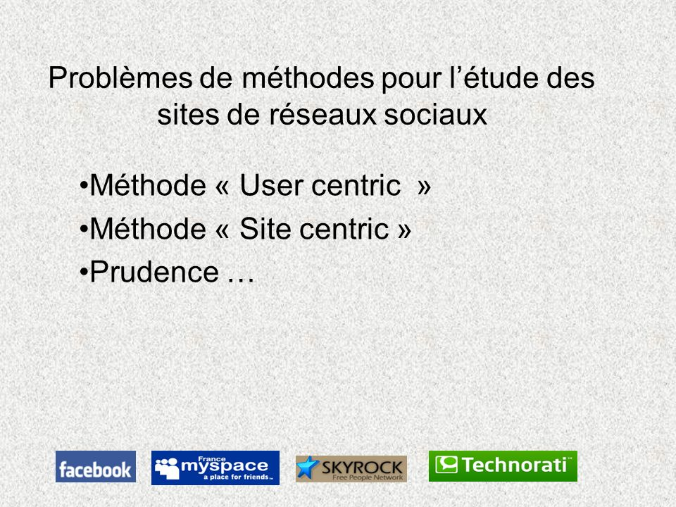 Problèmes de méthodes pour l'étude des sites de réseaux sociaux