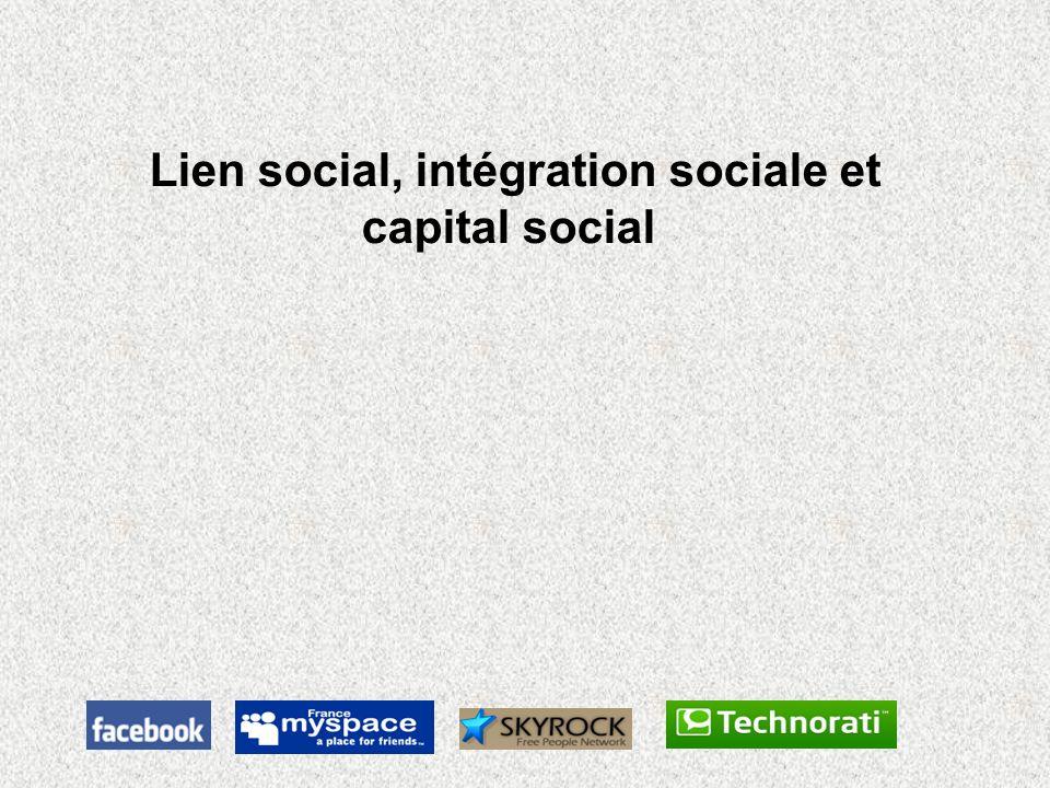 Lien social, intégration sociale et capital social