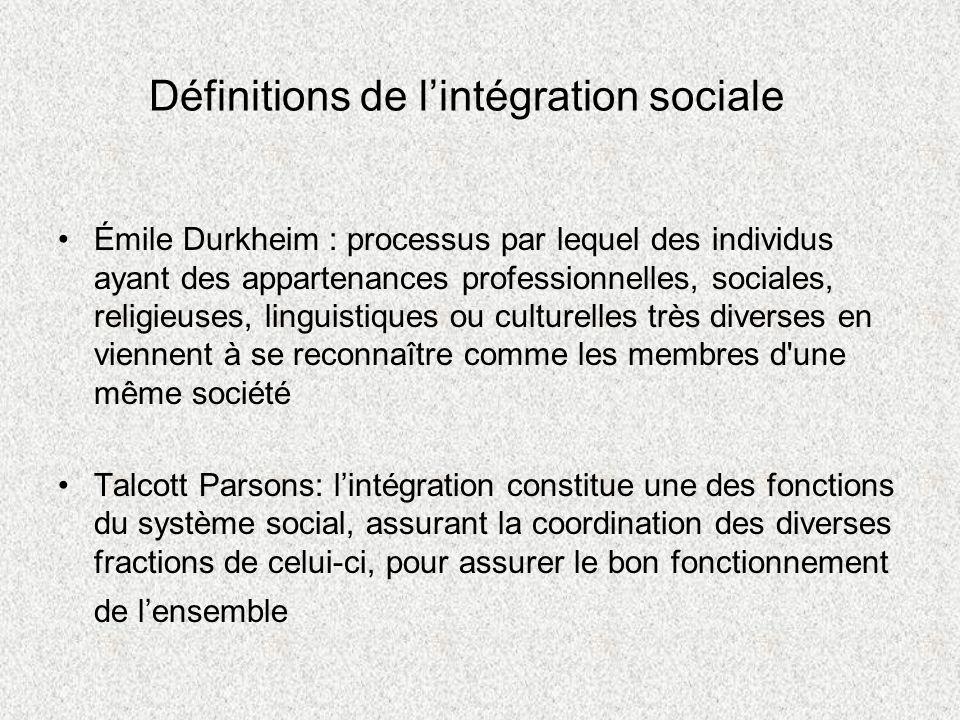 Définitions de l'intégration sociale