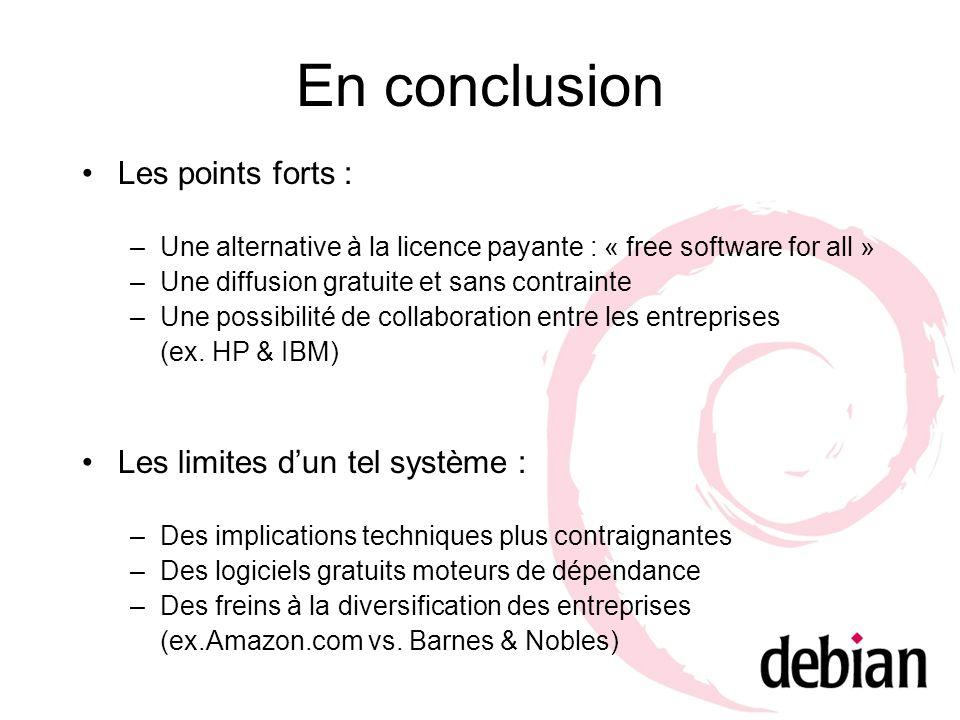 En conclusion Les points forts : Les limites d'un tel système :