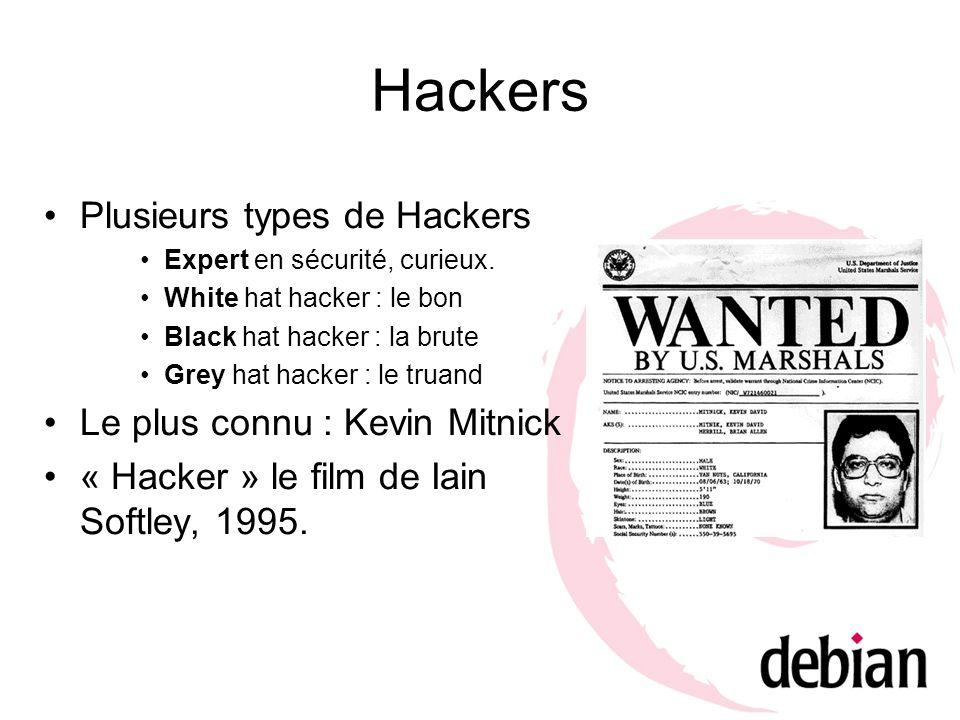 Hackers Plusieurs types de Hackers Le plus connu : Kevin Mitnick