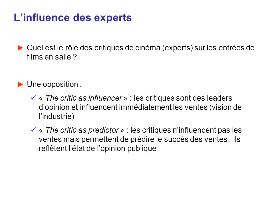 L'influence des experts