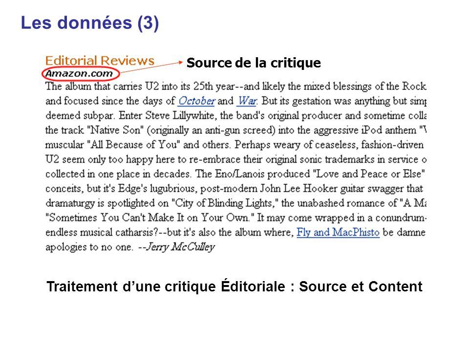 Traitement d'une critique Éditoriale : Source et Content