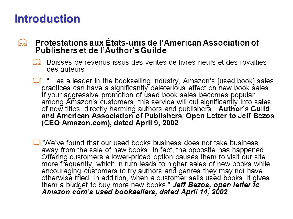Introduction Protestations aux États-unis de l'American Association of Publishers et de l'Author's Guilde.