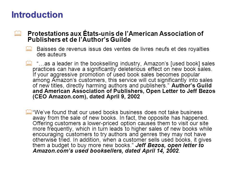 IntroductionProtestations aux États-unis de l'American Association of Publishers et de l'Author's Guilde.