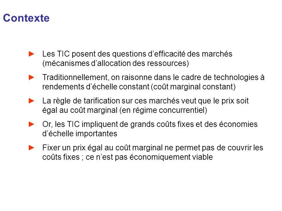 Contexte Les TIC posent des questions d'efficacité des marchés (mécanismes d'allocation des ressources)