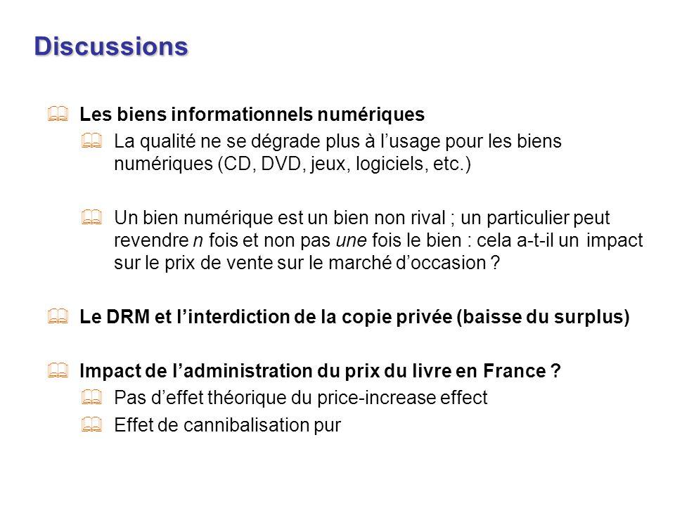 Discussions Les biens informationnels numériques