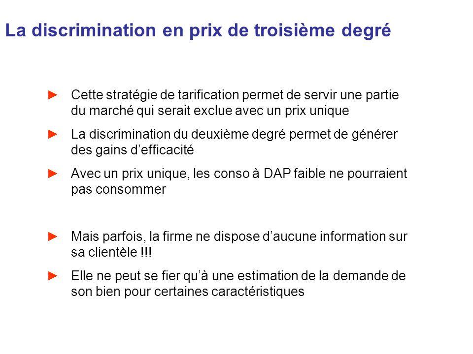 La discrimination en prix de troisième degré