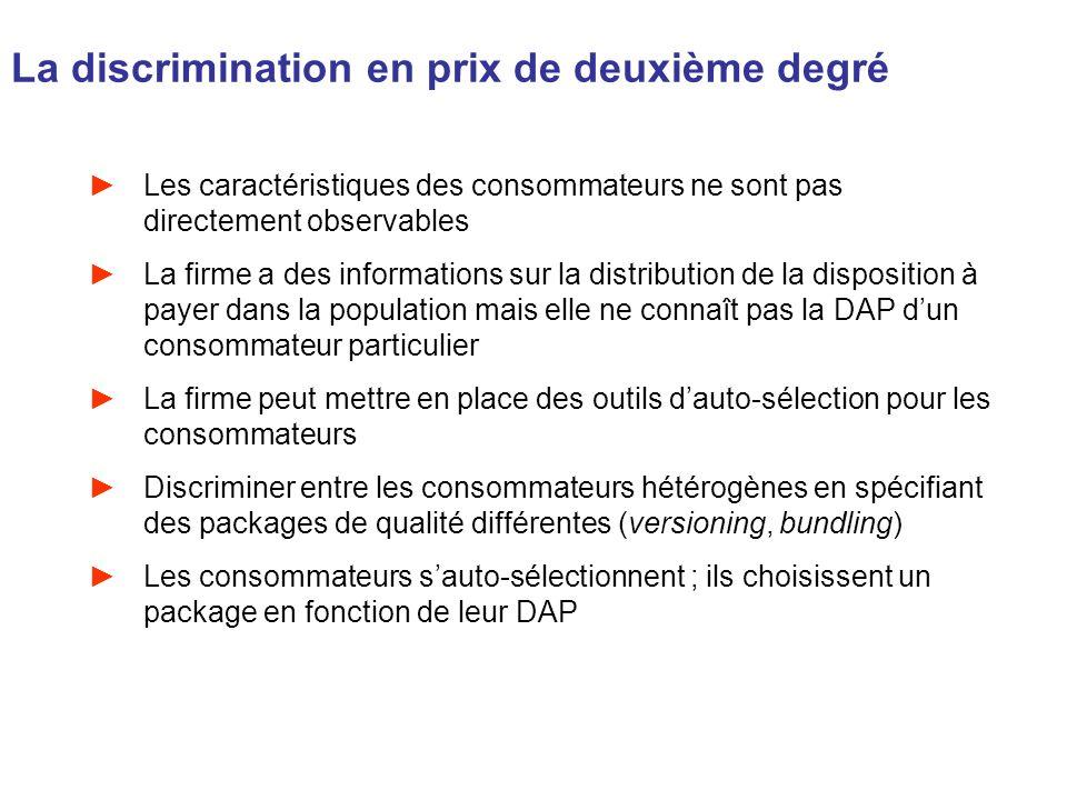 La discrimination en prix de deuxième degré