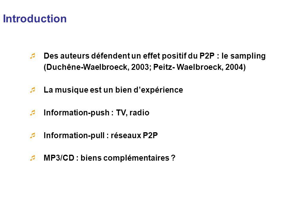 Introduction Des auteurs défendent un effet positif du P2P : le sampling (Duchêne-Waelbroeck, 2003; Peitz- Waelbroeck, 2004)