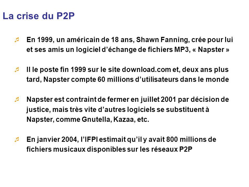 La crise du P2P En 1999, un américain de 18 ans, Shawn Fanning, crée pour lui et ses amis un logiciel d'échange de fichiers MP3, « Napster »
