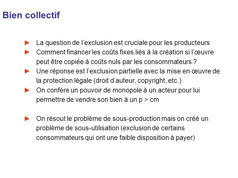 Bien collectifLa question de l'exclusion est cruciale pour les producteurs.