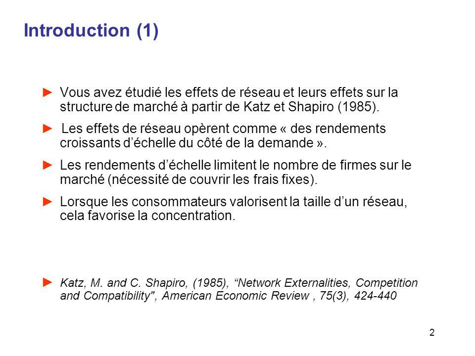 Introduction (1) Vous avez étudié les effets de réseau et leurs effets sur la structure de marché à partir de Katz et Shapiro (1985).