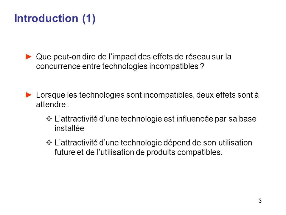 Introduction (1) Que peut-on dire de l'impact des effets de réseau sur la concurrence entre technologies incompatibles