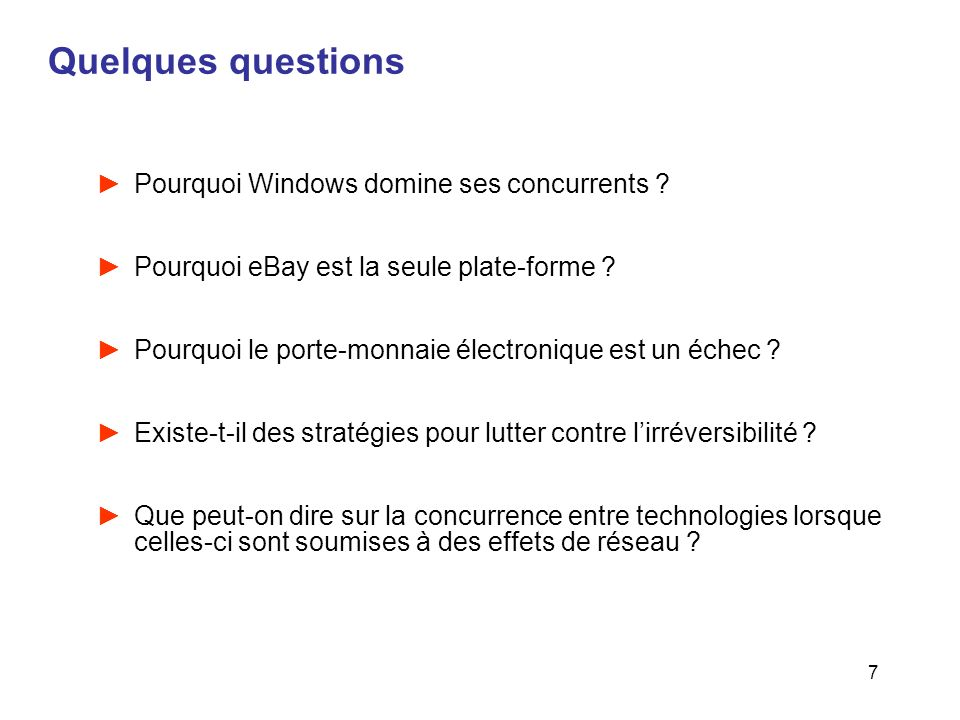 Quelques questions Pourquoi Windows domine ses concurrents