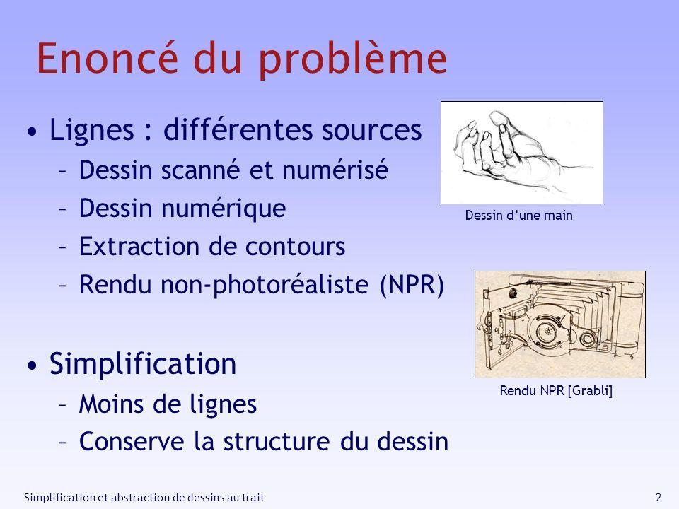 Enoncé du problème Lignes : différentes sources Simplification