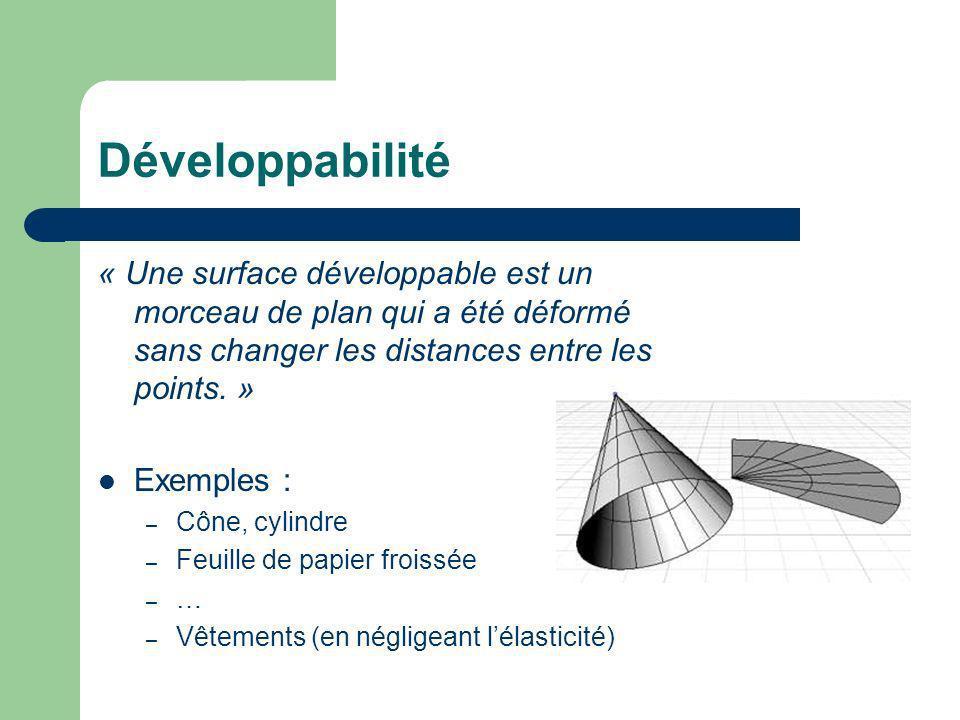 Développabilité « Une surface développable est un morceau de plan qui a été déformé sans changer les distances entre les points. »
