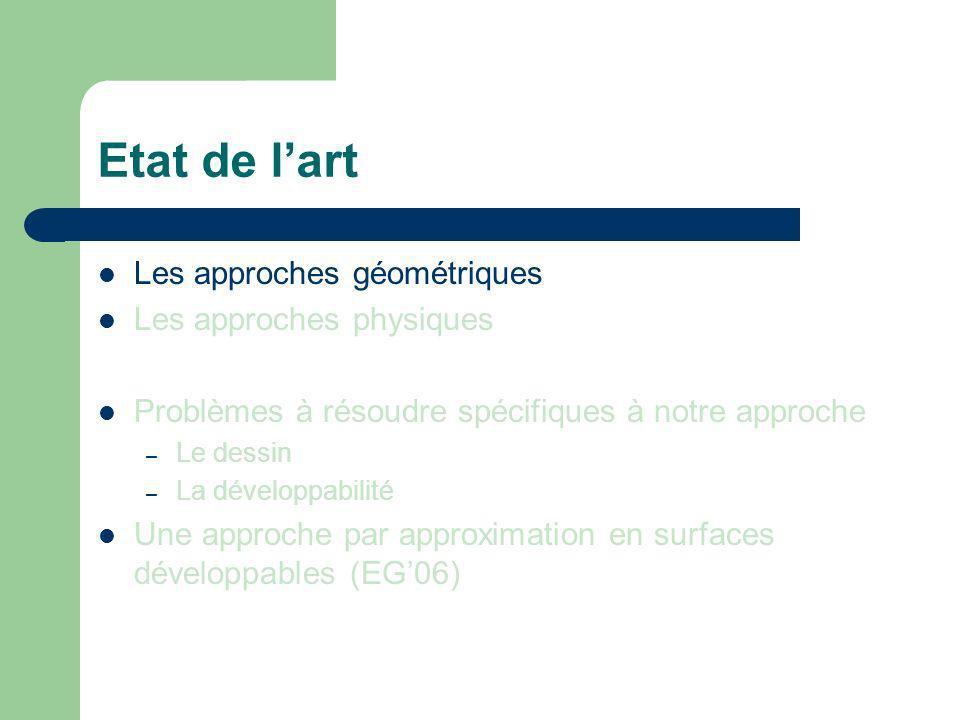 Etat de l'art Les approches géométriques Les approches physiques