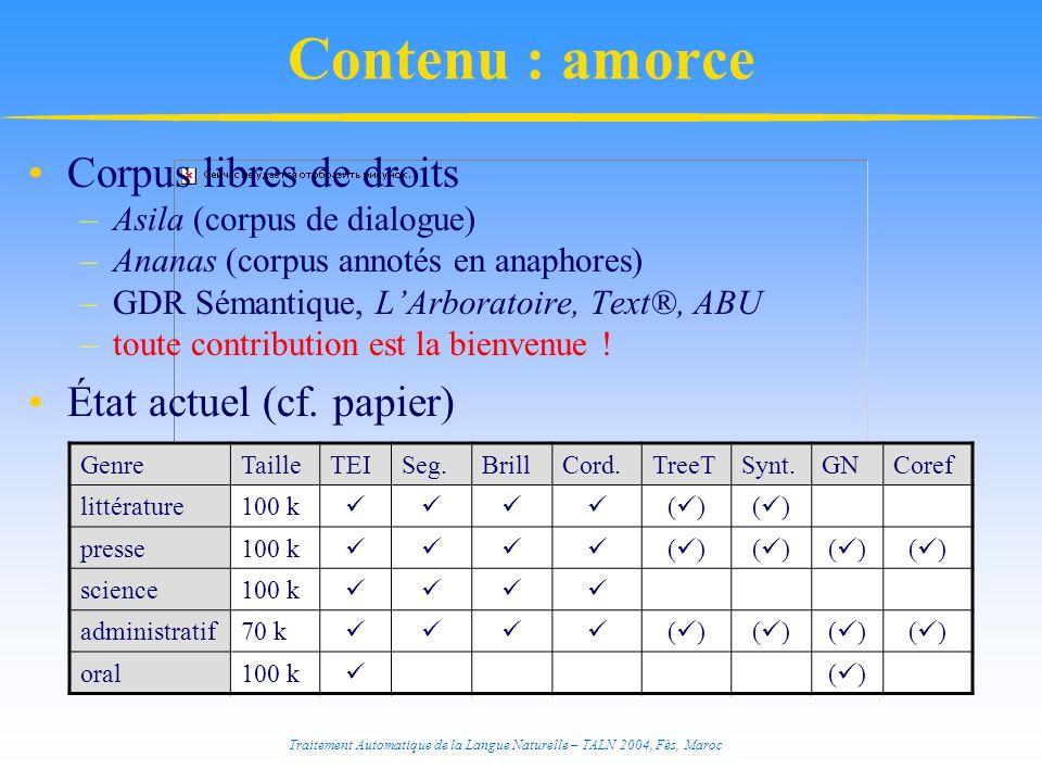 Contenu : amorce Corpus libres de droits État actuel (cf. papier)