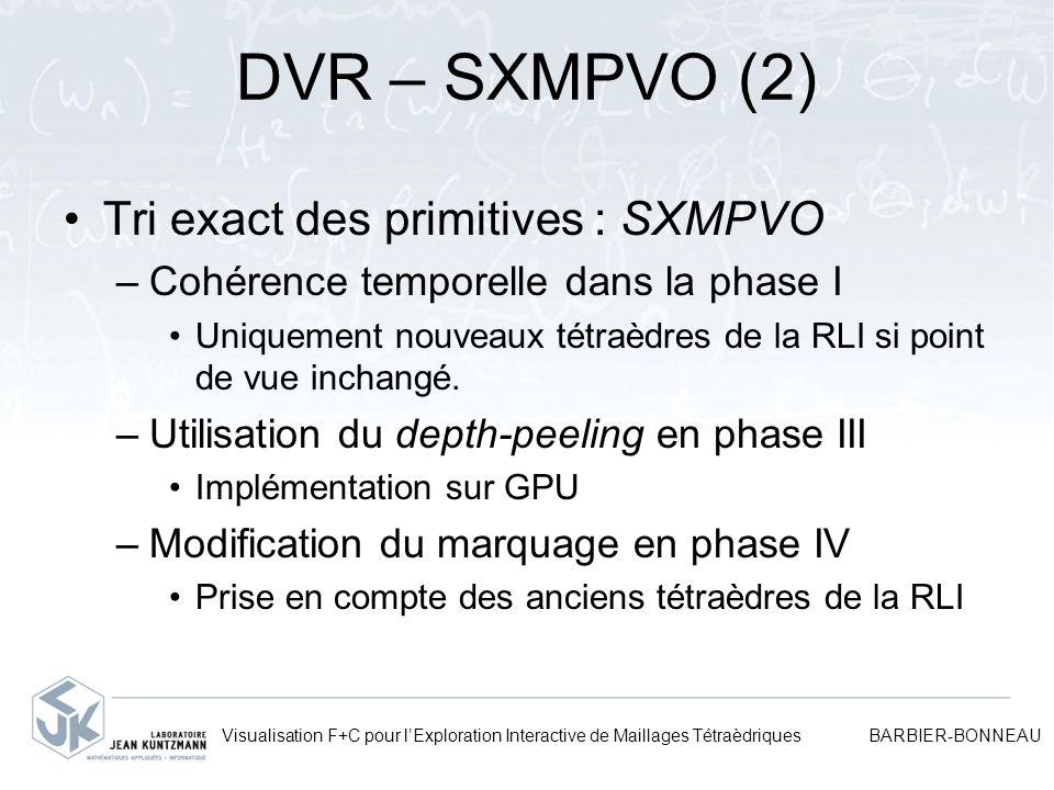 DVR – SXMPVO (2) Tri exact des primitives : SXMPVO