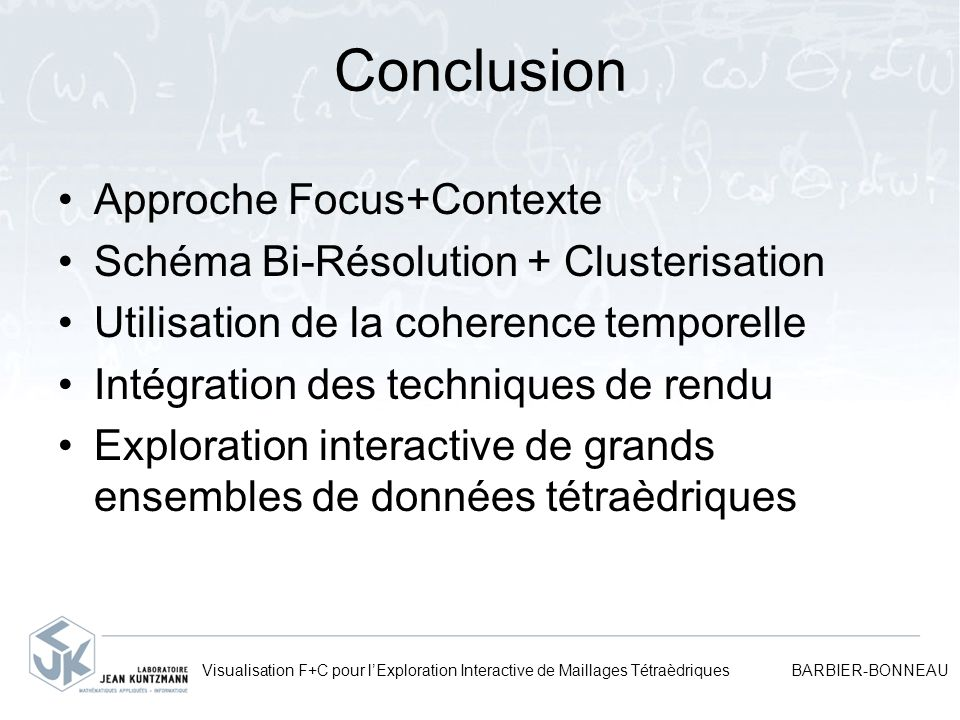 Conclusion Approche Focus+Contexte