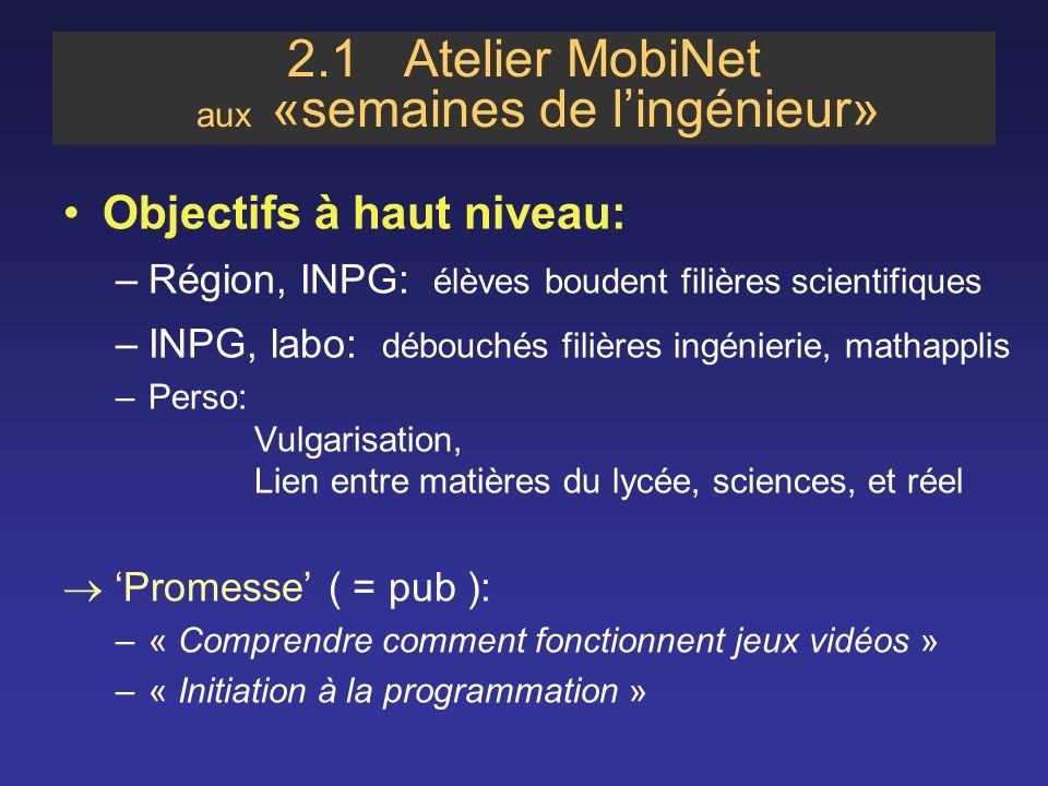 2.1 Atelier MobiNet aux «semaines de l'ingénieur»
