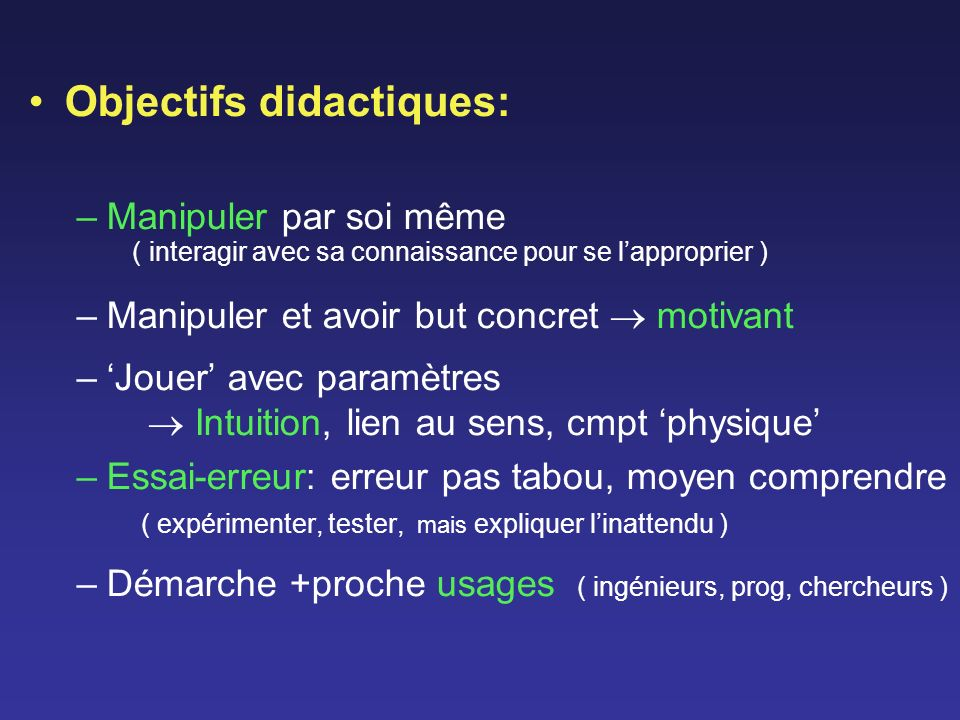 Objectifs didactiques:
