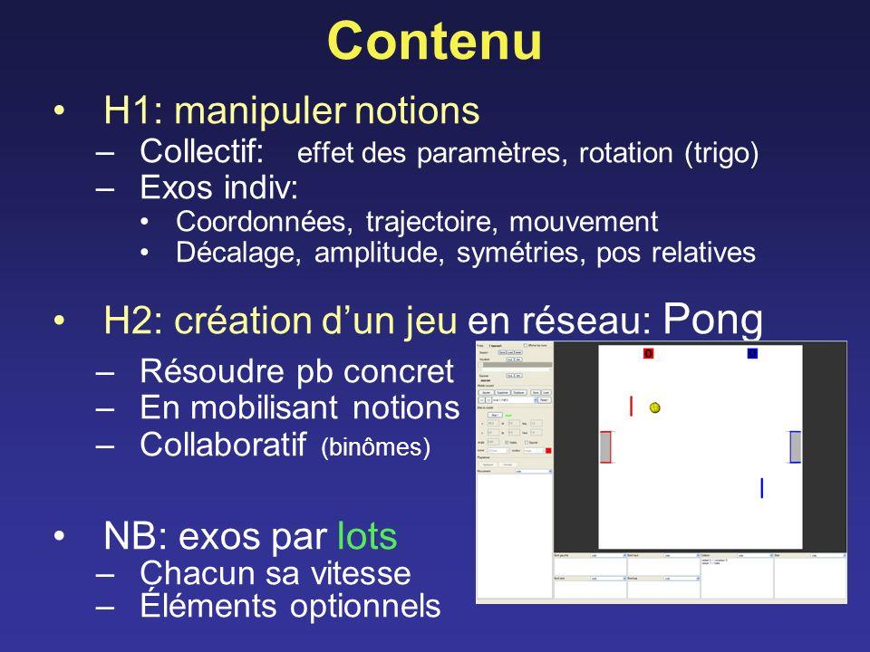 Contenu H1: manipuler notions H2: création d'un jeu en réseau: Pong