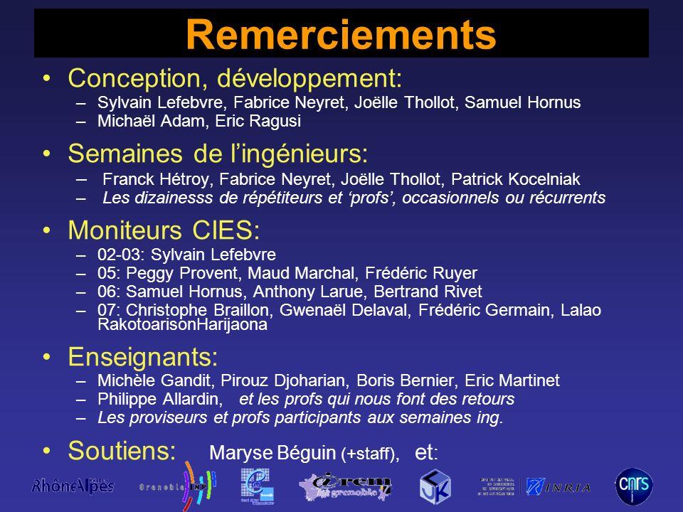 Remerciements Conception, développement: Semaines de l'ingénieurs: