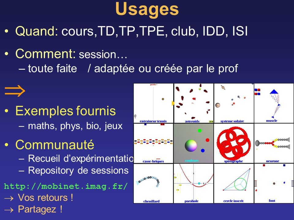  Usages Quand: cours,TD,TP,TPE, club, IDD, ISI Comment: session…