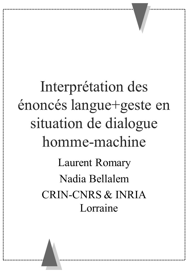 Laurent Romary Nadia Bellalem CRIN-CNRS & INRIA Lorraine