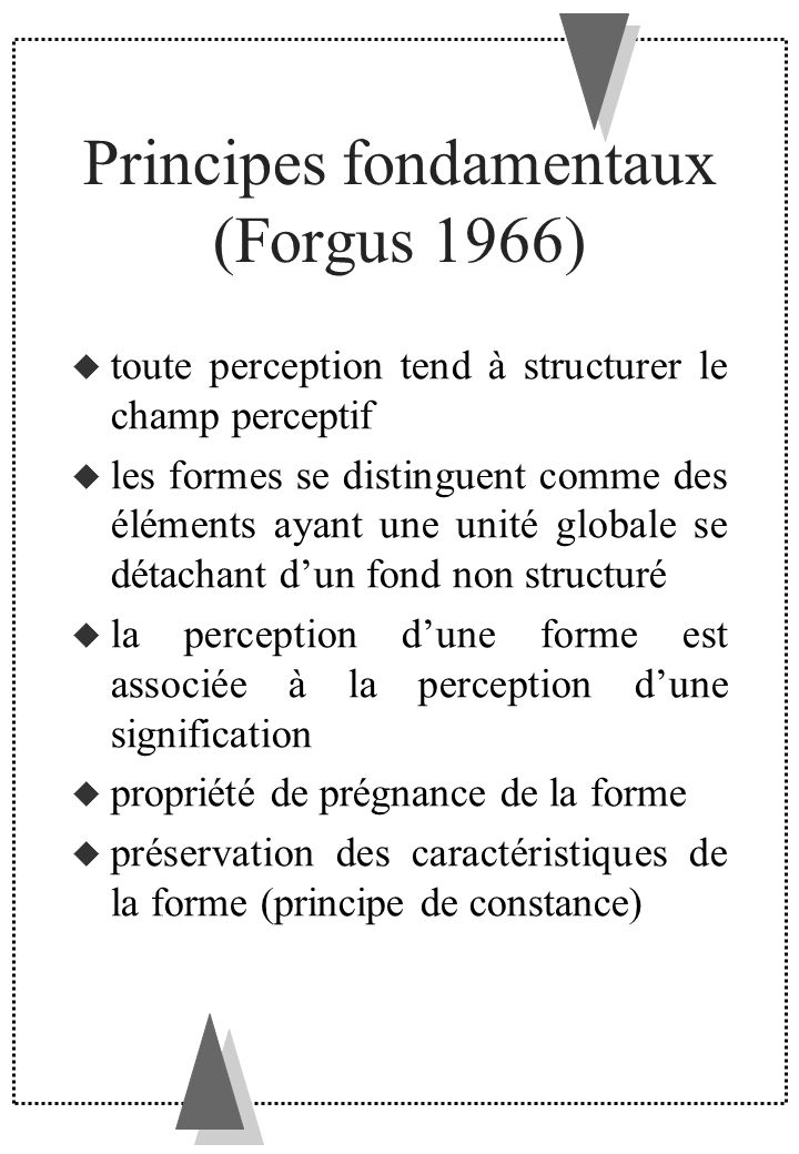 Principes fondamentaux (Forgus 1966)