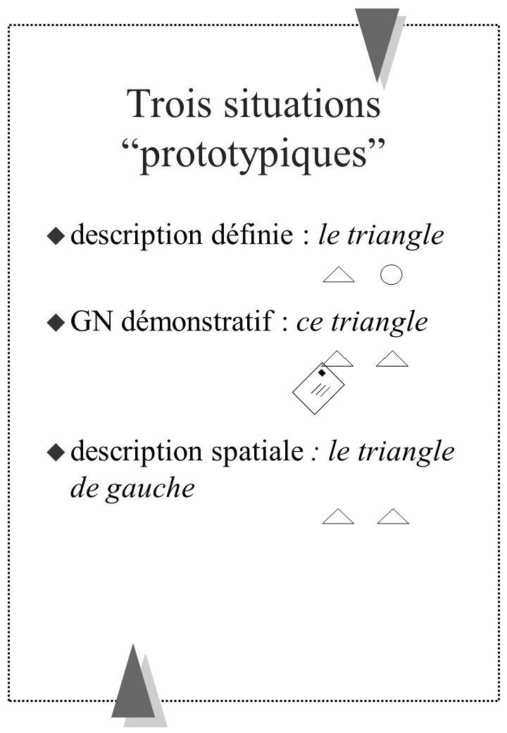 Trois situations prototypiques