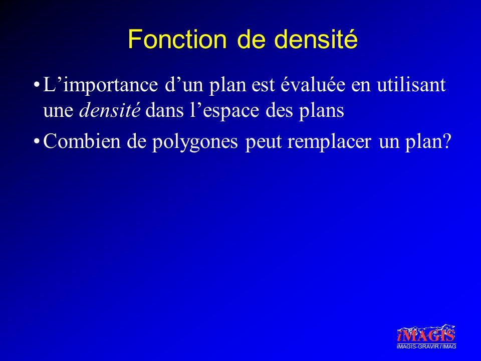 Fonction de densité L'importance d'un plan est évaluée en utilisant une densité dans l'espace des plans.