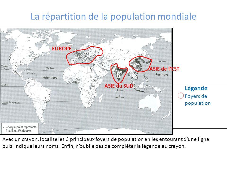 La répartition de la population mondiale
