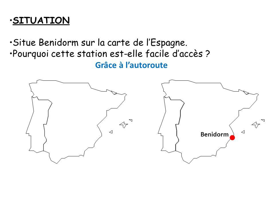 Situe Benidorm sur la carte de l'Espagne.