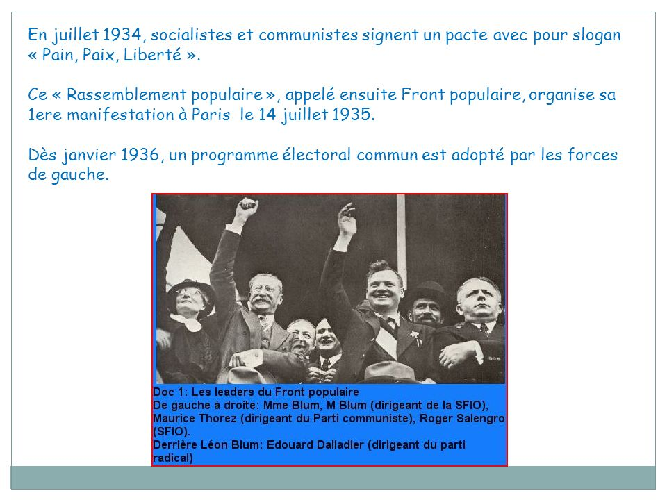 En juillet 1934, socialistes et communistes signent un pacte avec pour slogan « Pain, Paix, Liberté ».