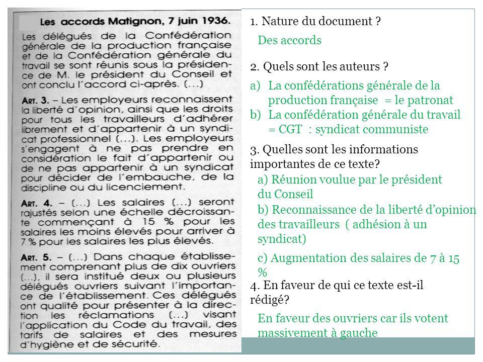 1. Nature du document Des accords. 2. Quels sont les auteurs La confédérations générale de la production française = le patronat.