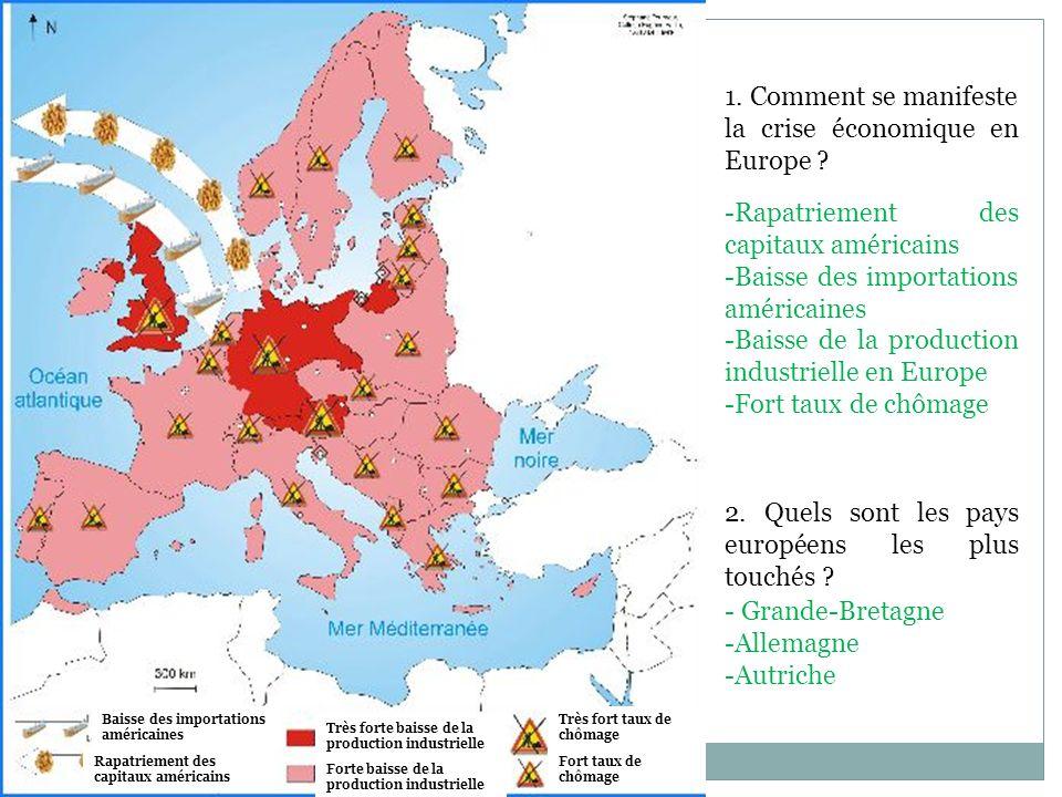 1. Comment se manifeste la crise économique en Europe