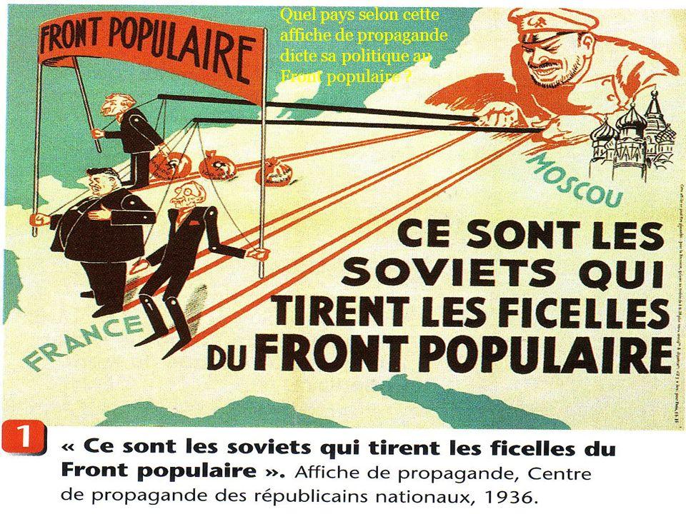 Quel pays selon cette affiche de propagande dicte sa politique au Front populaire