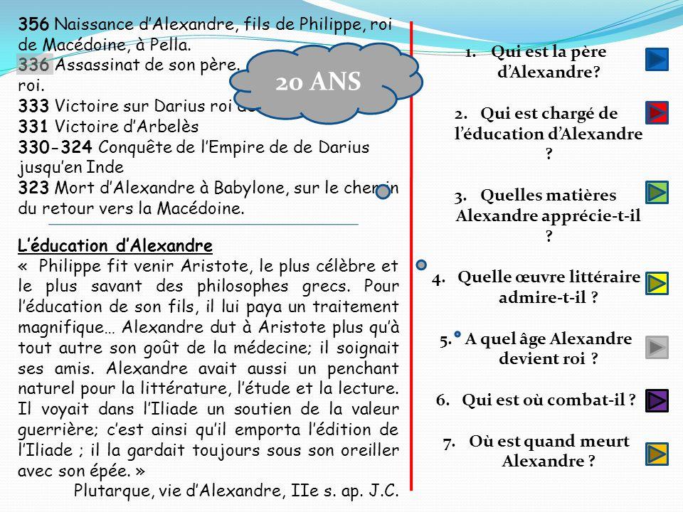 356 Naissance d'Alexandre, fils de Philippe, roi de Macédoine, à Pella.